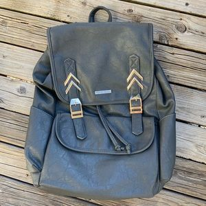 Rampage Leather Gray Blue Backpack NWT